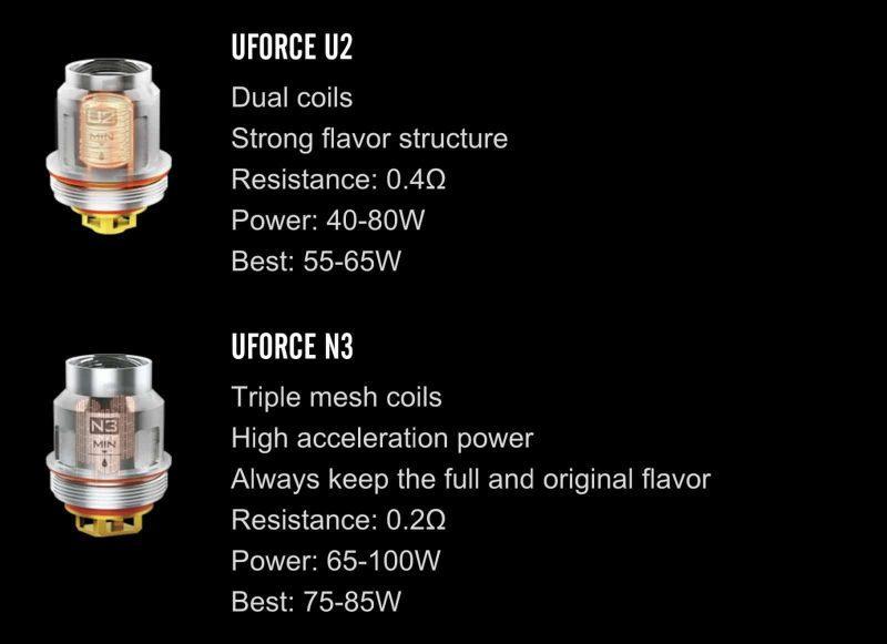 uforce t2 tank coils e1539897581238 - Drag 2 Voopoo et Uforce T2 Tank Kit -